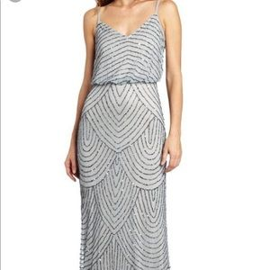 Adrianna Papell Silver Beaded Gown